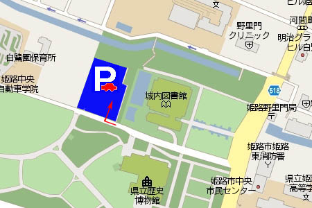 城の北駐車場マップ画像